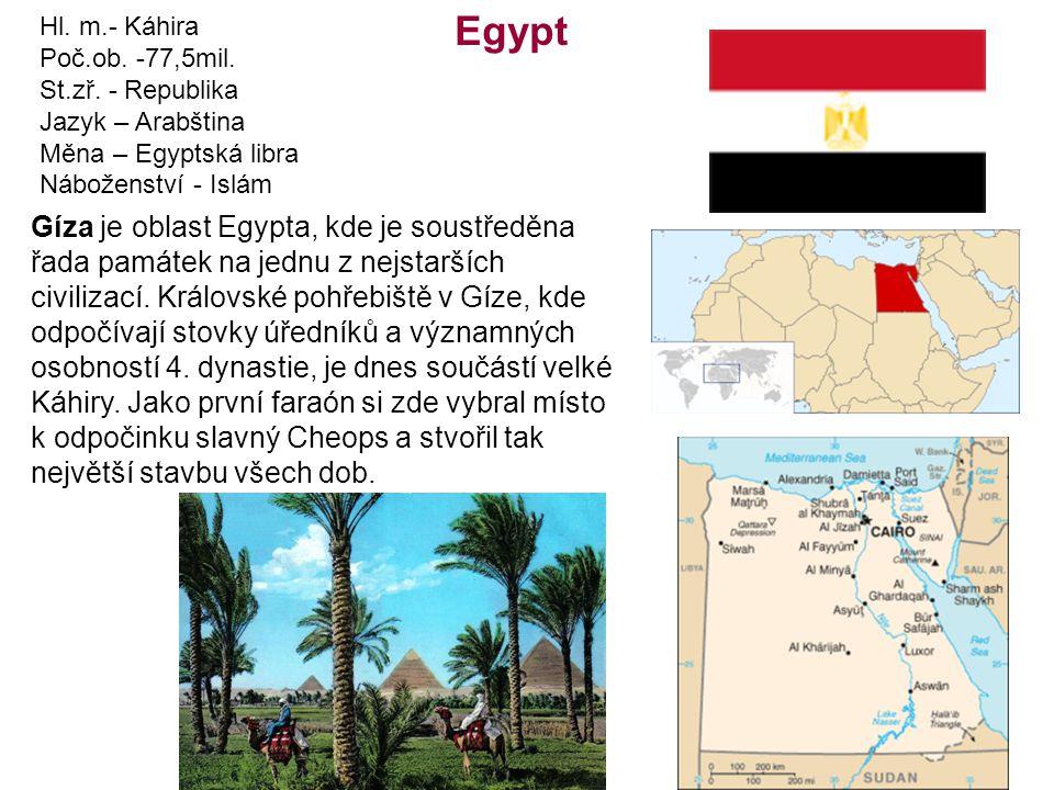 Hl. m.- Káhira Poč.ob. -77,5mil. St.zř. - Republika. Jazyk – Arabština. Měna – Egyptská libra. Náboženství - Islám.