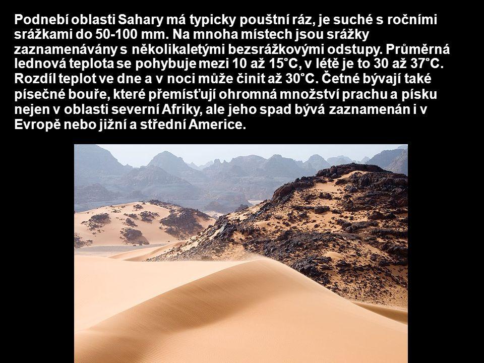 Podnebí oblasti Sahary má typicky pouštní ráz, je suché s ročními srážkami do 50-100 mm.