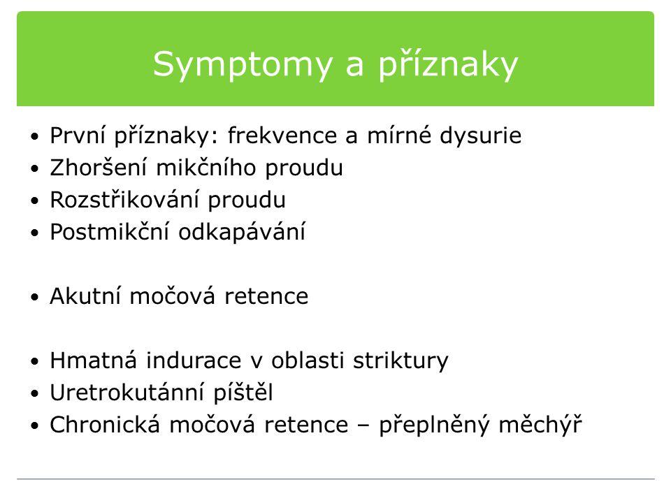 Symptomy a příznaky První příznaky: frekvence a mírné dysurie