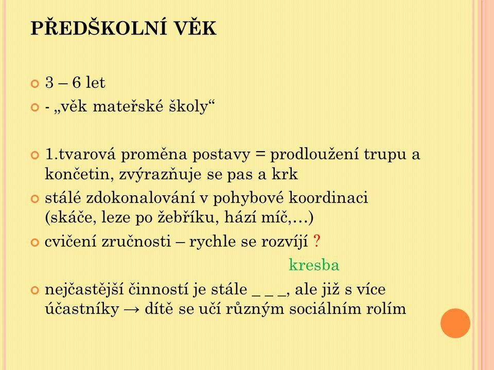 """PŘEDŠKOLNÍ VĚK 3 – 6 let - """"věk mateřské školy"""