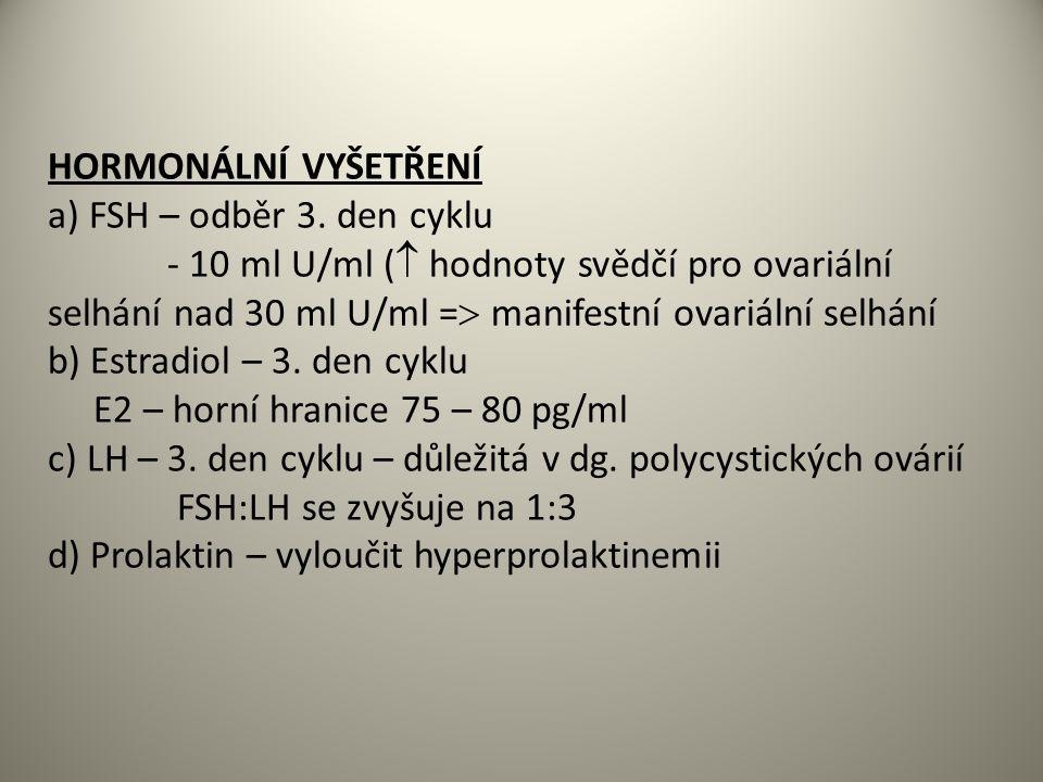 HORMONÁLNÍ VYŠETŘENÍ a) FSH – odběr 3. den cyklu.
