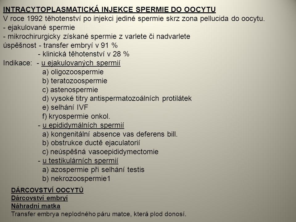 INTRACYTOPLASMATICKÁ INJEKCE SPERMIE DO OOCYTU
