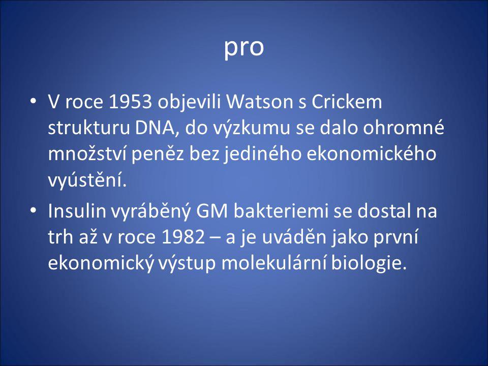 pro V roce 1953 objevili Watson s Crickem strukturu DNA, do výzkumu se dalo ohromné množství peněz bez jediného ekonomického vyústění.