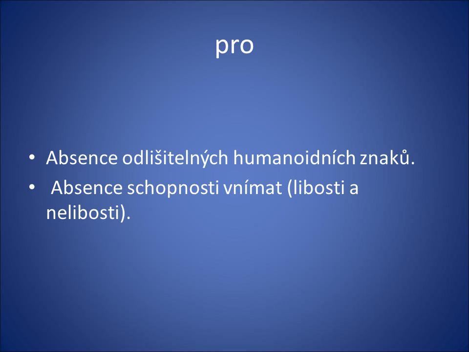 pro Absence odlišitelných humanoidních znaků.