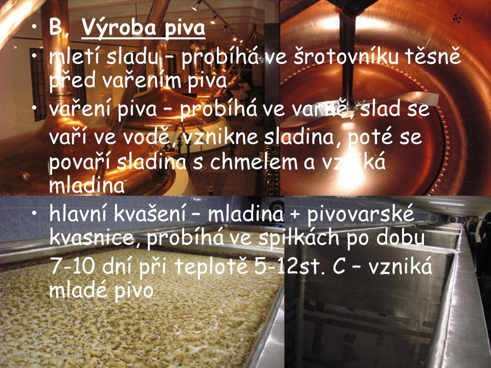 B, Výroba piva mletí sladu – probíhá ve šrotovníku těsně před vařením piva.