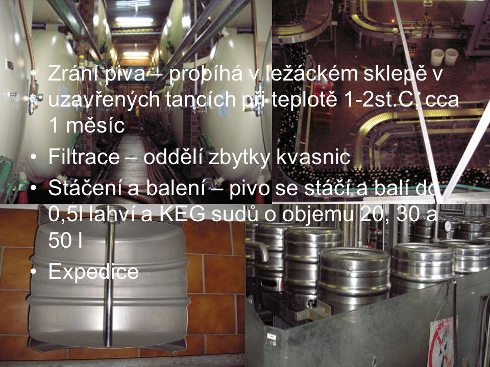 Zrání piva – probíhá v ležáckém sklepě v uzavřených tancích při teplotě 1-2st.C, cca 1 měsíc