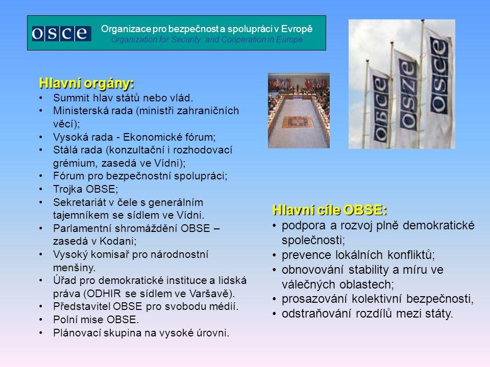 Hlavní orgány: Hlavní cíle OBSE: