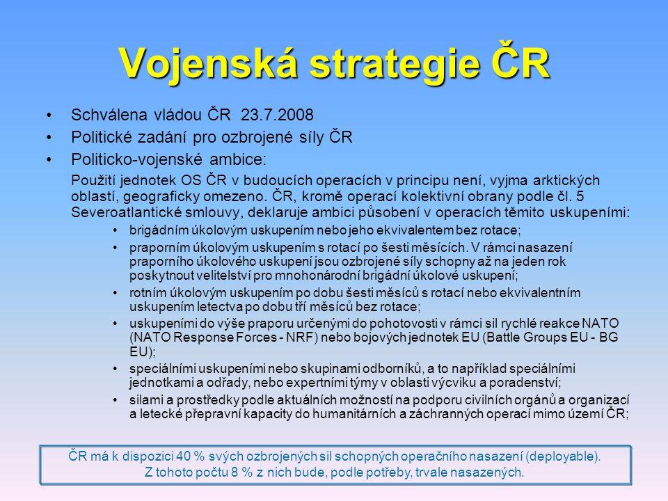 Vojenská strategie ČR Schválena vládou ČR 23.7.2008