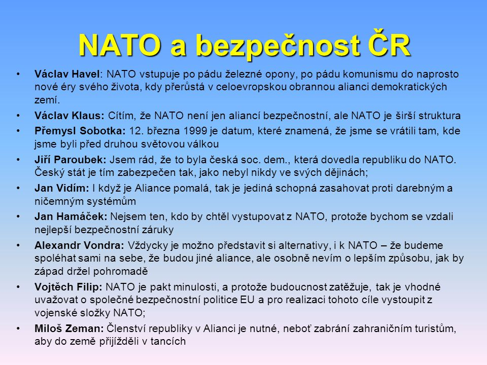NATO a bezpečnost ČR