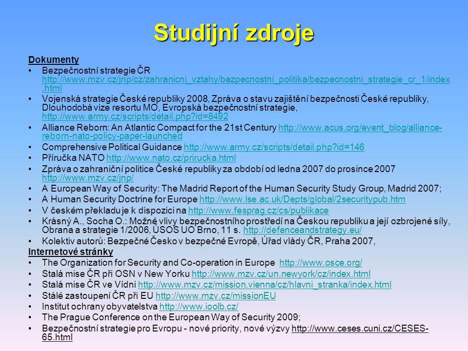 Studijní zdroje Dokumenty