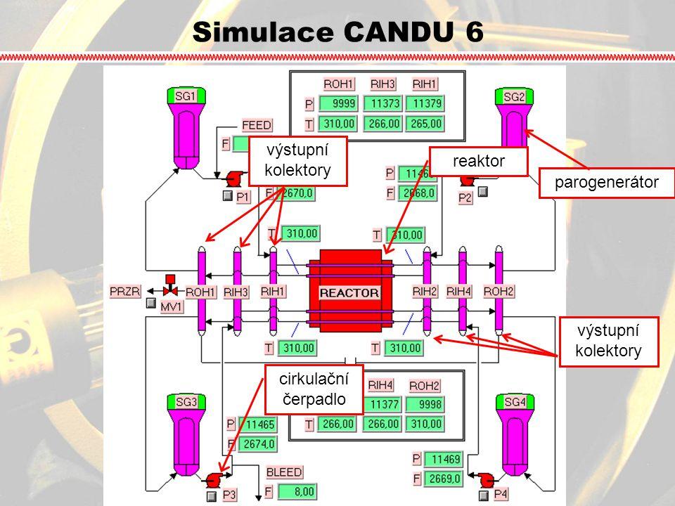 Simulace CANDU 6 výstupní kolektory reaktor parogenerátor