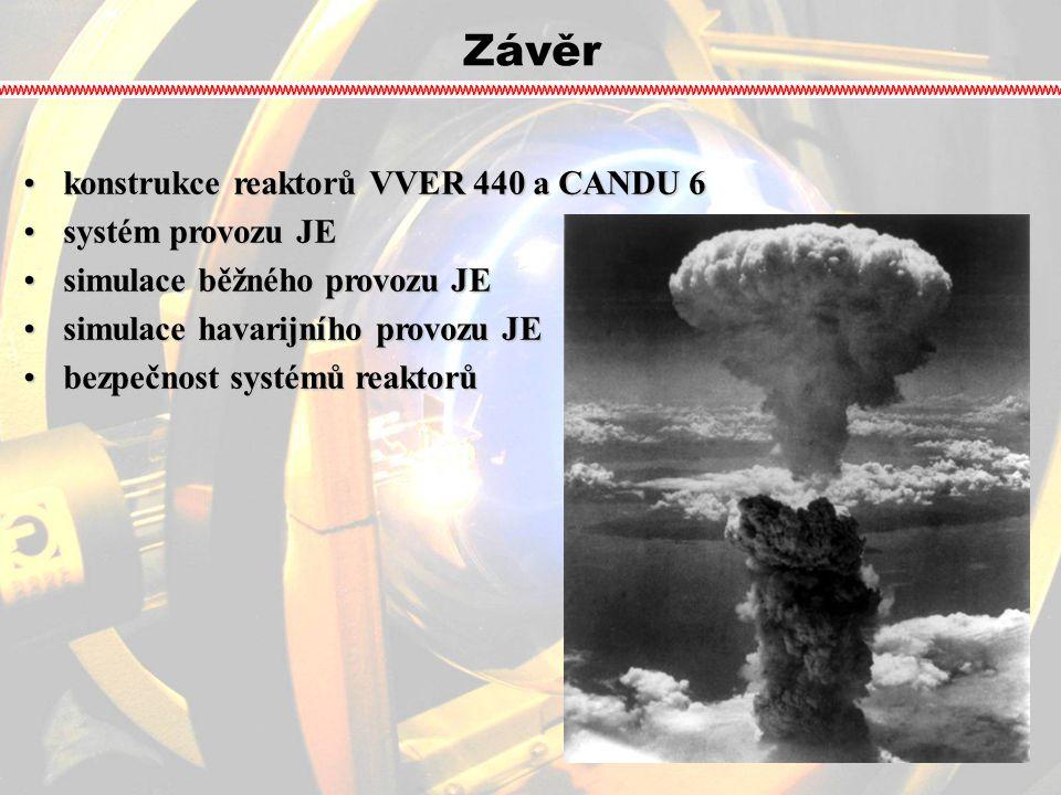 Závěr konstrukce reaktorů VVER 440 a CANDU 6 systém provozu JE