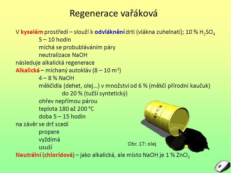 Regenerace vařáková V kyselém prostředí – slouží k odvláknění drti (vlákna zuhelnatí); 10 % H2SO4. 5 – 10 hodin.