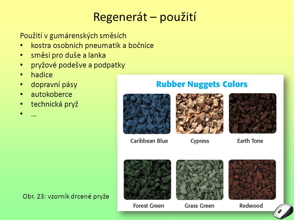 Regenerát – použití Použití v gumárenských směsích