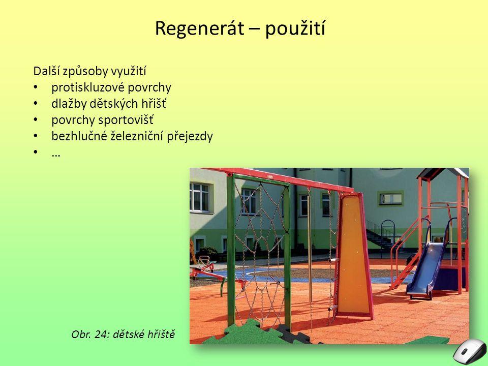Regenerát – použití Další způsoby využití protiskluzové povrchy