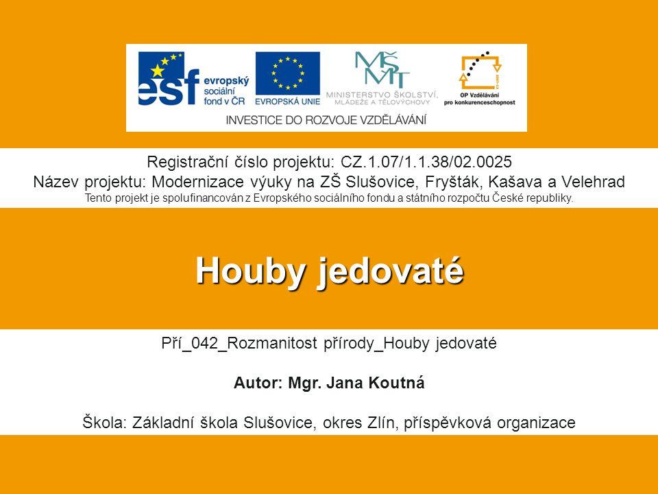 Houby jedovaté Registrační číslo projektu: CZ.1.07/1.1.38/02.0025