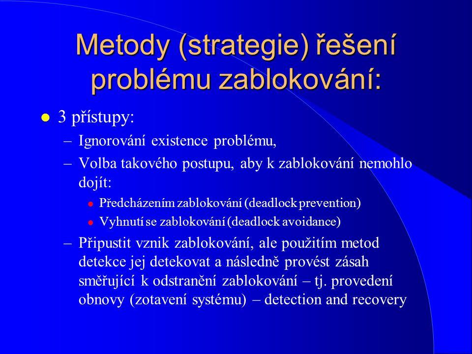 Metody (strategie) řešení problému zablokování: