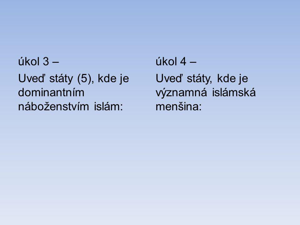 úkol 3 – Uveď státy (5), kde je dominantním náboženstvím islám: