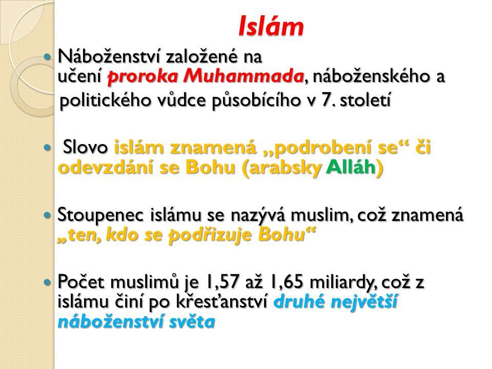 Islám Náboženství založené na učení proroka Muhammada, náboženského a