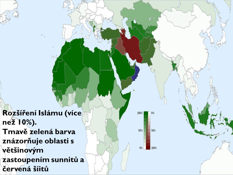 Rozšíření Islámu (více než 10%).