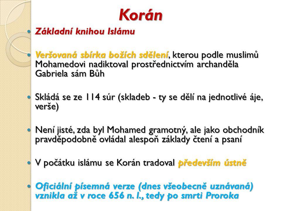 Korán Základní knihou Islámu