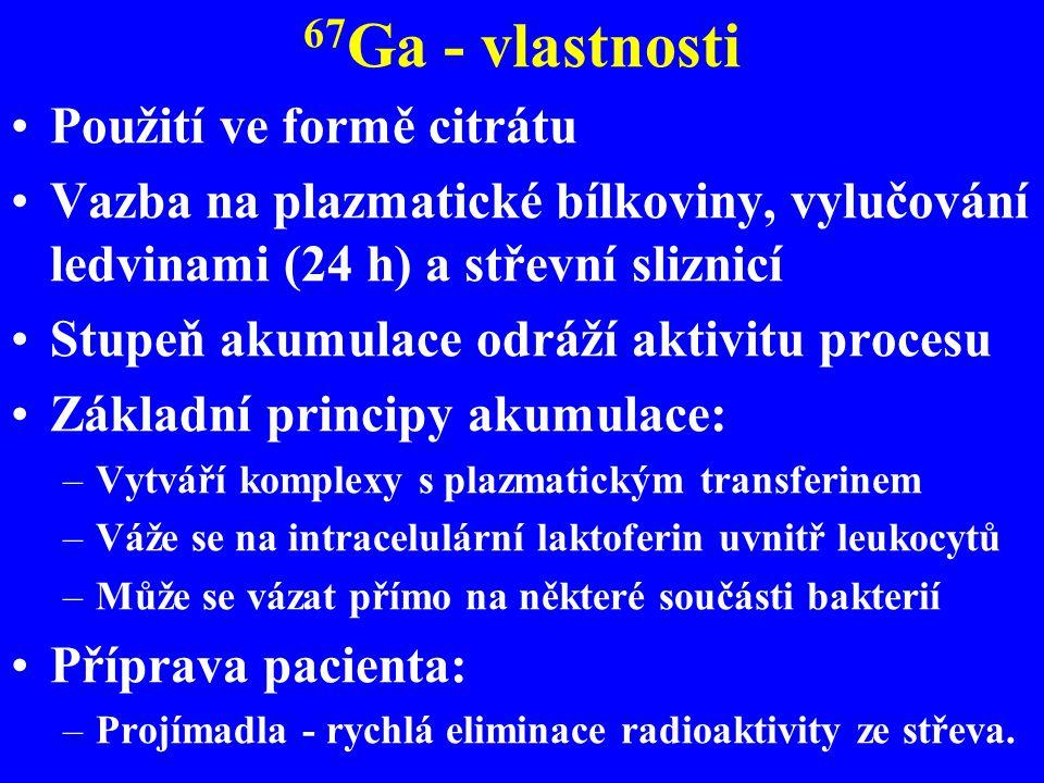 67Ga - vlastnosti Použití ve formě citrátu