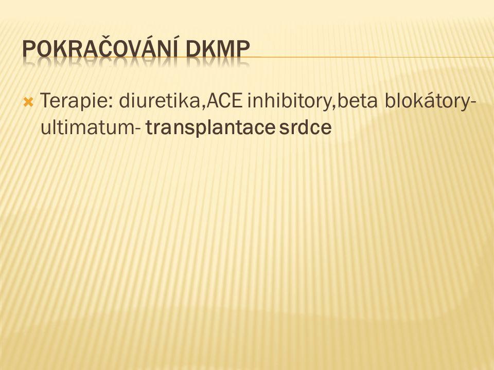 Pokračování DKMP Terapie: diuretika,ACE inhibitory,beta blokátory- ultimatum- transplantace srdce
