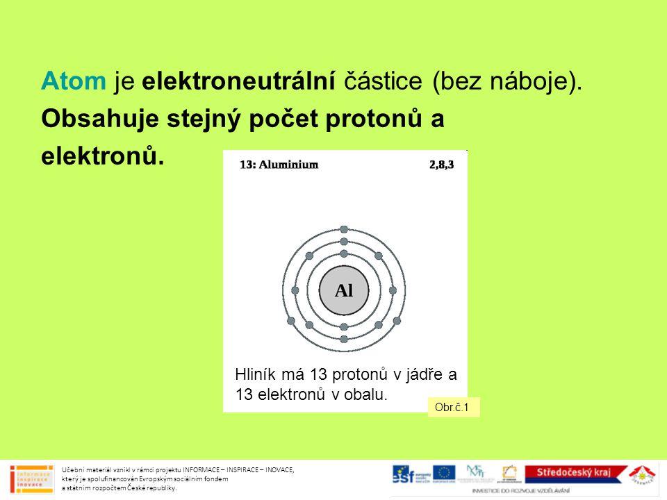 Atom je elektroneutrální částice (bez náboje).