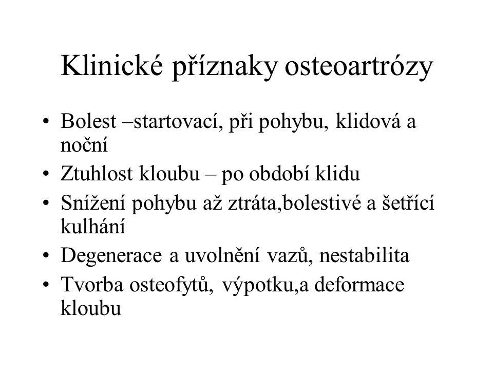 Klinické příznaky osteoartrózy