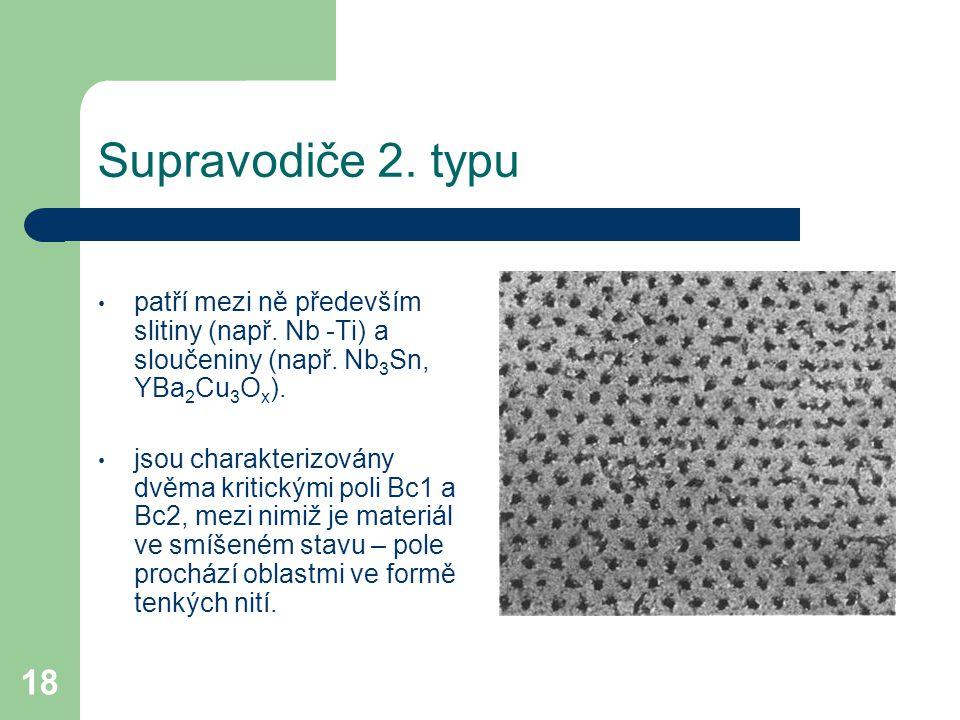Supravodiče 2. typu patří mezi ně především slitiny (např. Nb -Ti) a sloučeniny (např. Nb3Sn, YBa2Cu3Ox).