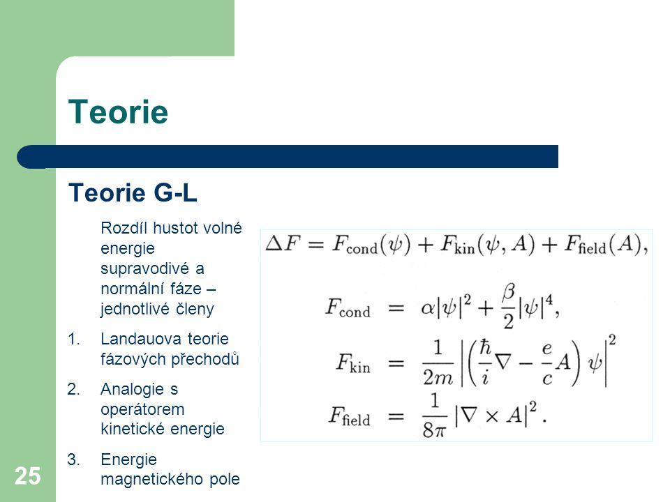 Teorie Teorie G-L. Rozdíl hustot volné energie supravodivé a normální fáze – jednotlivé členy. Landauova teorie fázových přechodů.