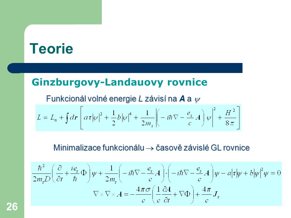 Teorie Ginzburgovy-Landauovy rovnice