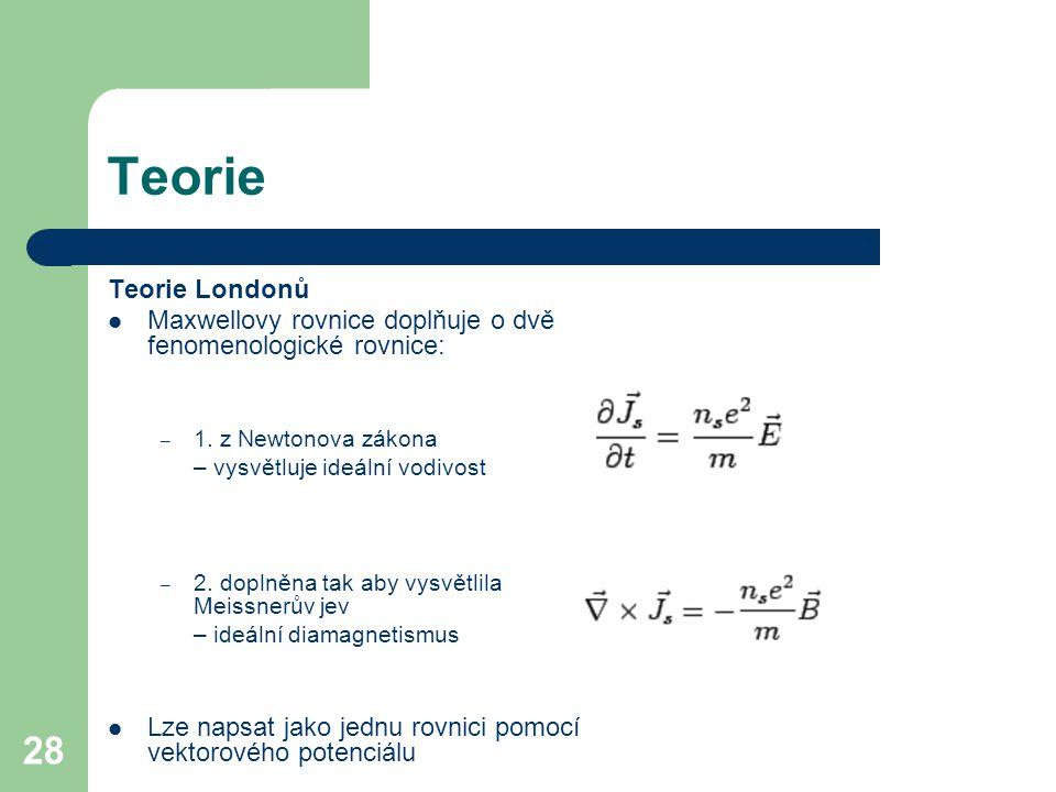Teorie Teorie Londonů. Maxwellovy rovnice doplňuje o dvě fenomenologické rovnice: 1. z Newtonova zákona.