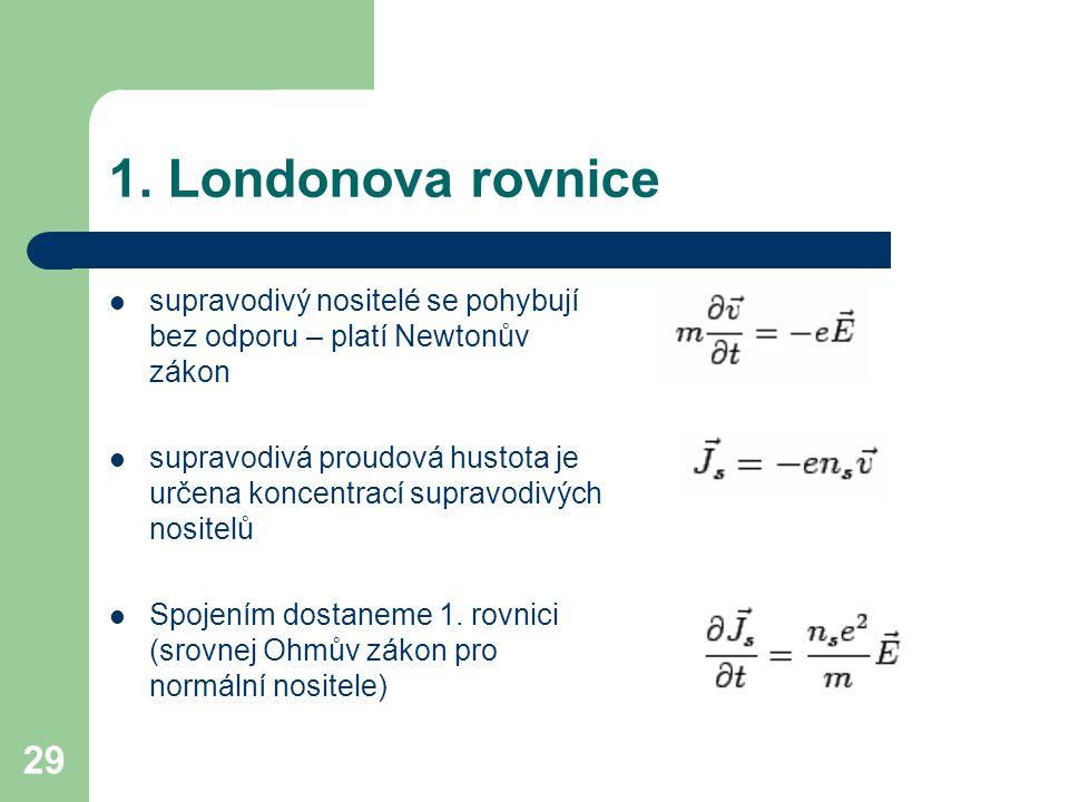 1. Londonova rovnice supravodivý nositelé se pohybují bez odporu – platí Newtonův zákon.