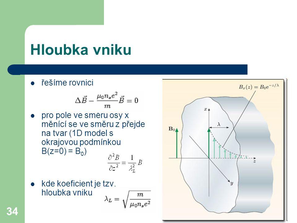 Hloubka vniku řešíme rovnici