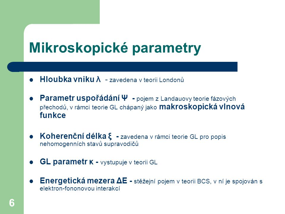 Mikroskopické parametry