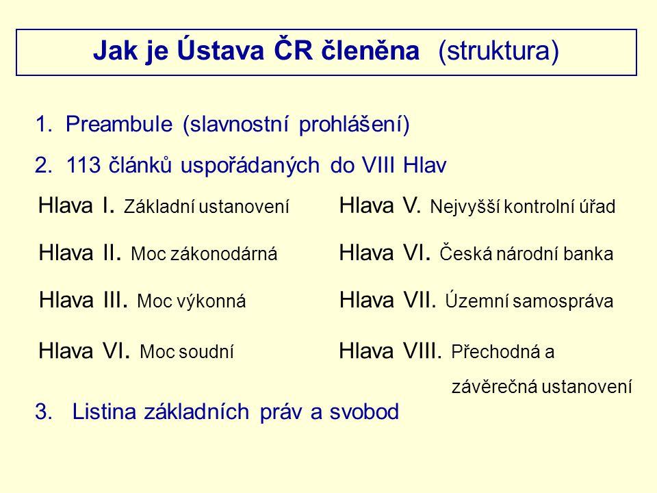 Jak je Ústava ČR členěna (struktura)