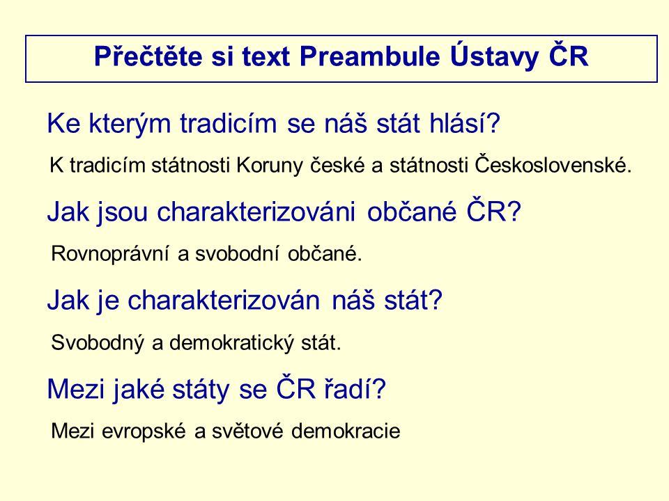 Přečtěte si text Preambule Ústavy ČR