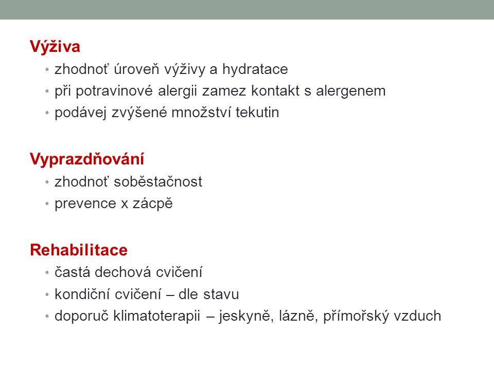 Výživa Vyprazdňování Rehabilitace zhodnoť úroveň výživy a hydratace
