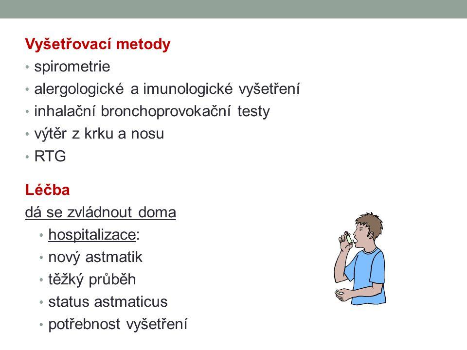 Vyšetřovací metody spirometrie. alergologické a imunologické vyšetření. inhalační bronchoprovokační testy.