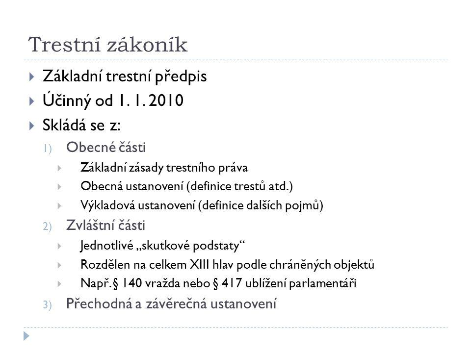 Trestní zákoník Základní trestní předpis Účinný od 1. 1. 2010
