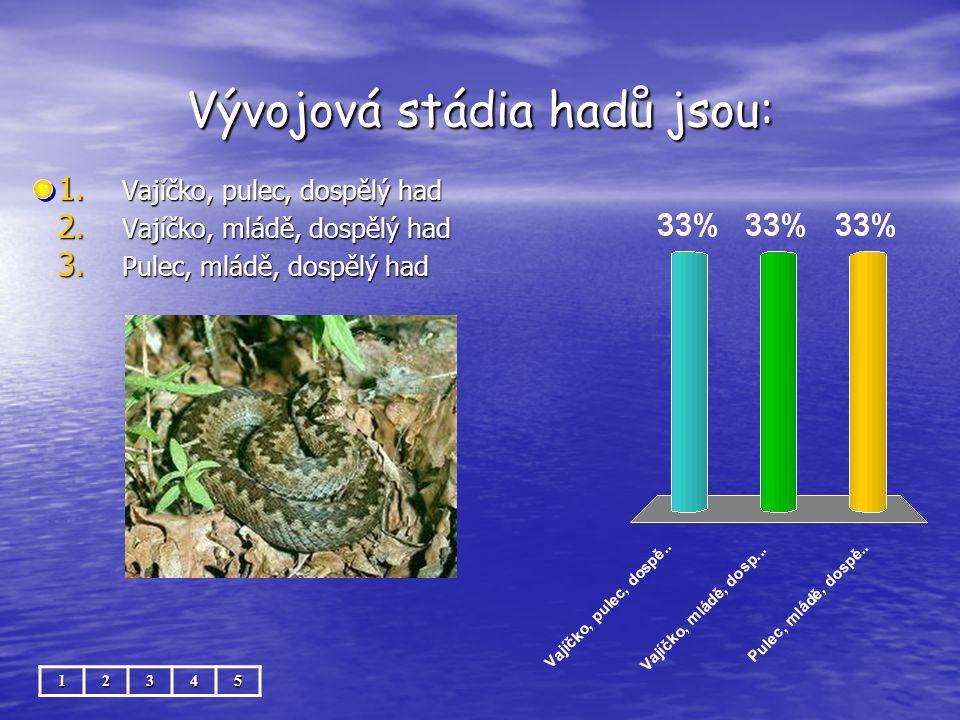 Vývojová stádia hadů jsou: