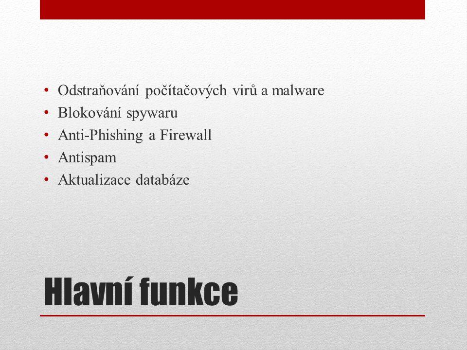 Hlavní funkce Odstraňování počítačových virů a malware