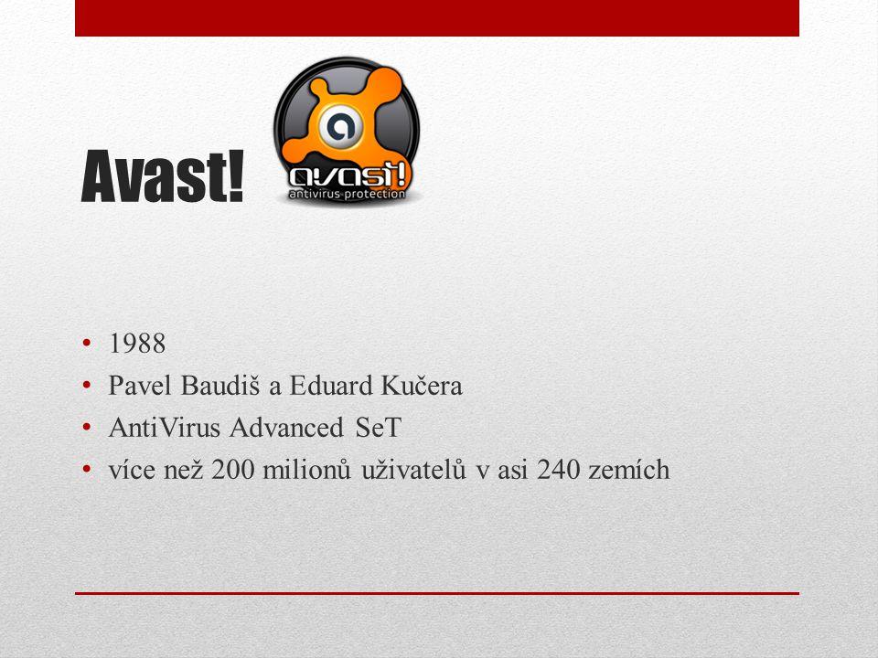 Avast! 1988 Pavel Baudiš a Eduard Kučera AntiVirus Advanced SeT