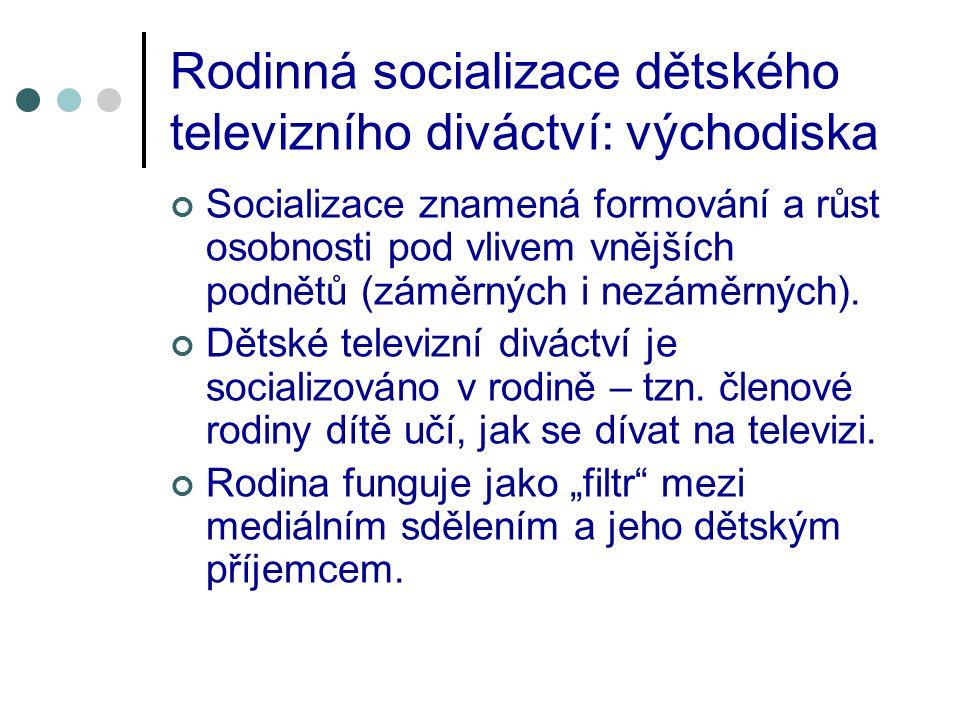 Rodinná socializace dětského televizního diváctví: východiska