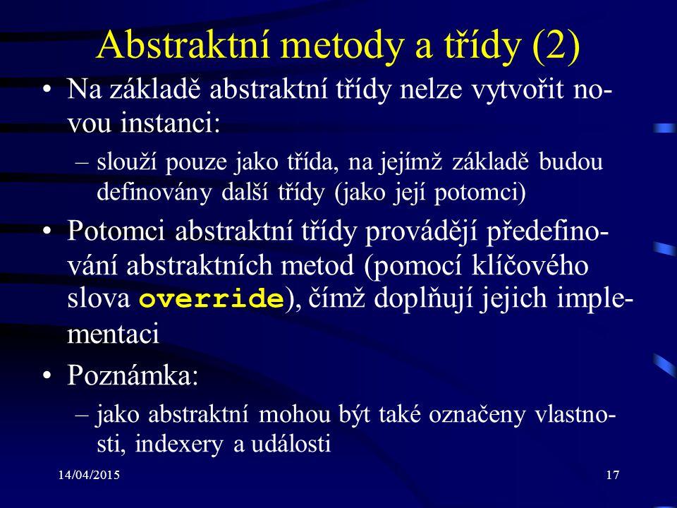 Abstraktní metody a třídy (2)