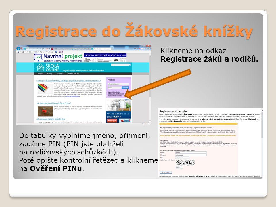 Registrace do Žákovské knížky
