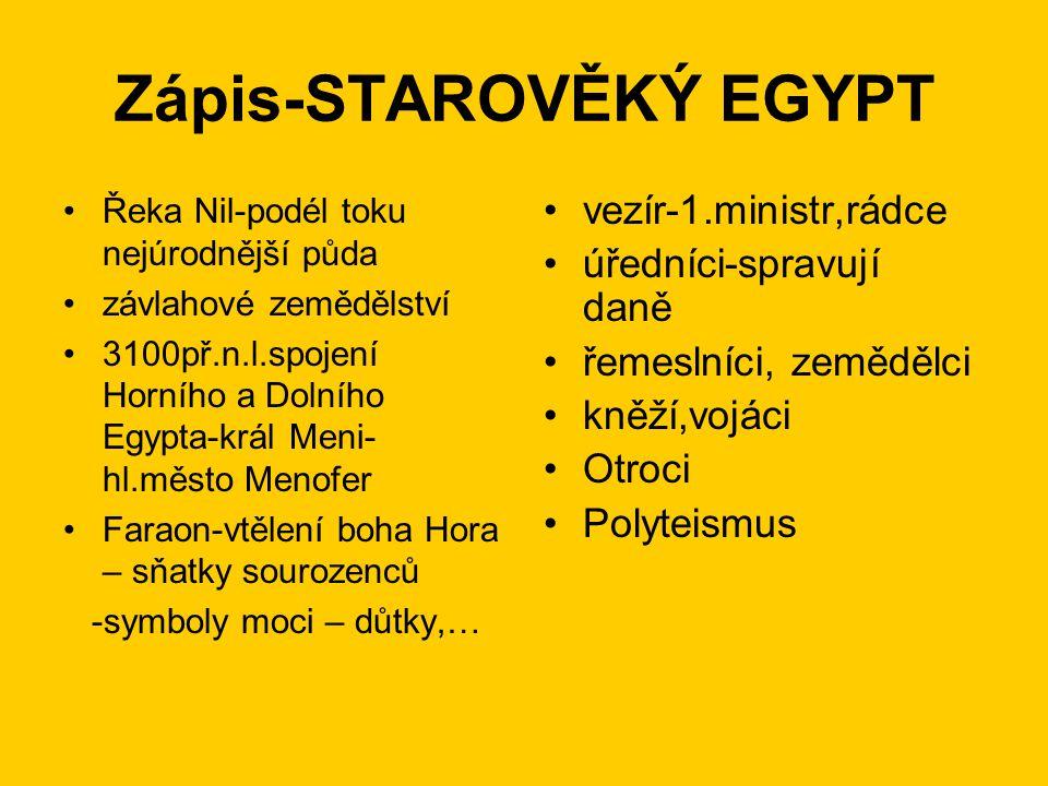Zápis-STAROVĚKÝ EGYPT