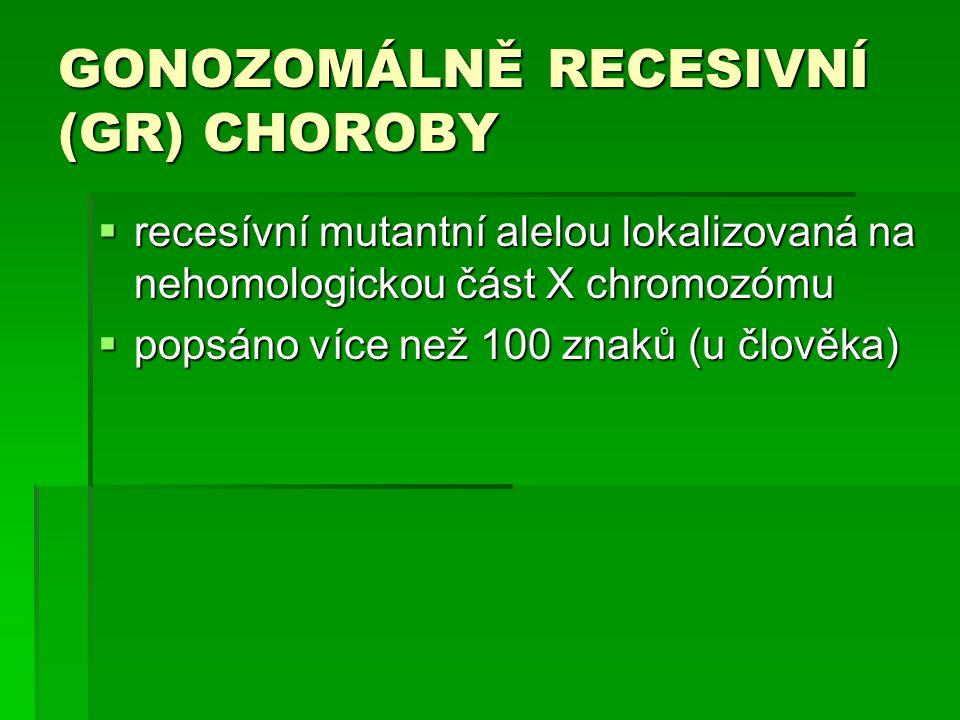 GONOZOMÁLNĚ RECESIVNÍ (GR) CHOROBY