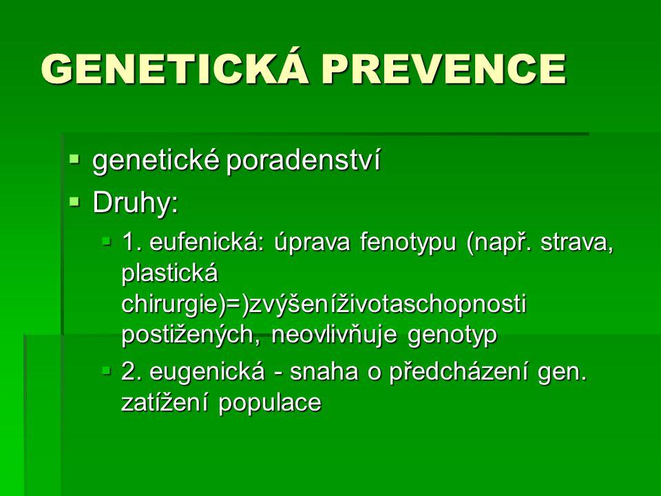GENETICKÁ PREVENCE genetické poradenství Druhy: